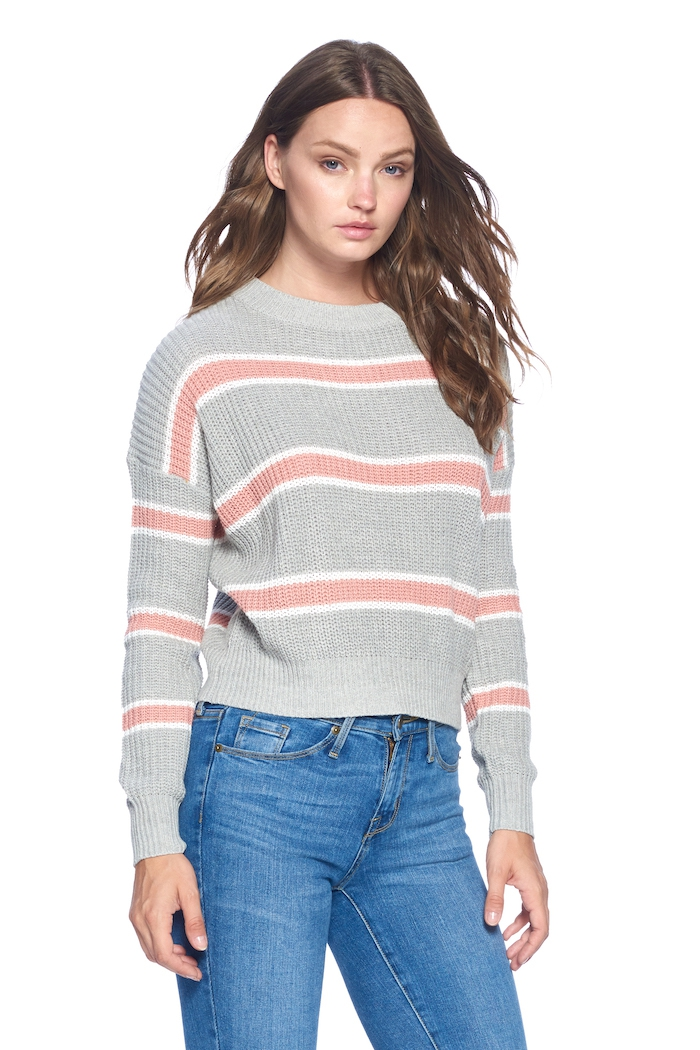 Striped Pullover Sweater - orangeshine.com