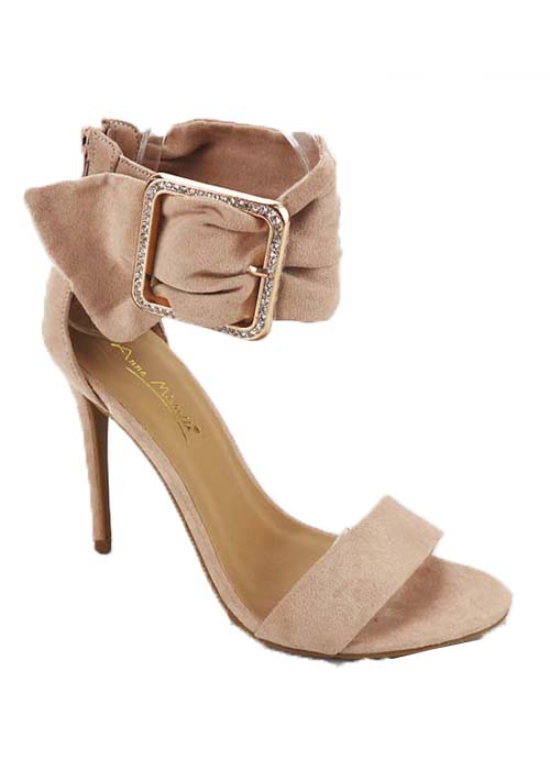 SUEDE HIGH HEEL OPEN WITH BUCKLE STR - orangeshine.com