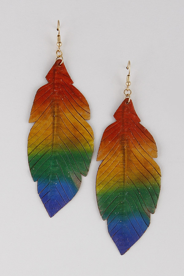 Painted Leaf Earrings 9JAB9 - orangeshine.com