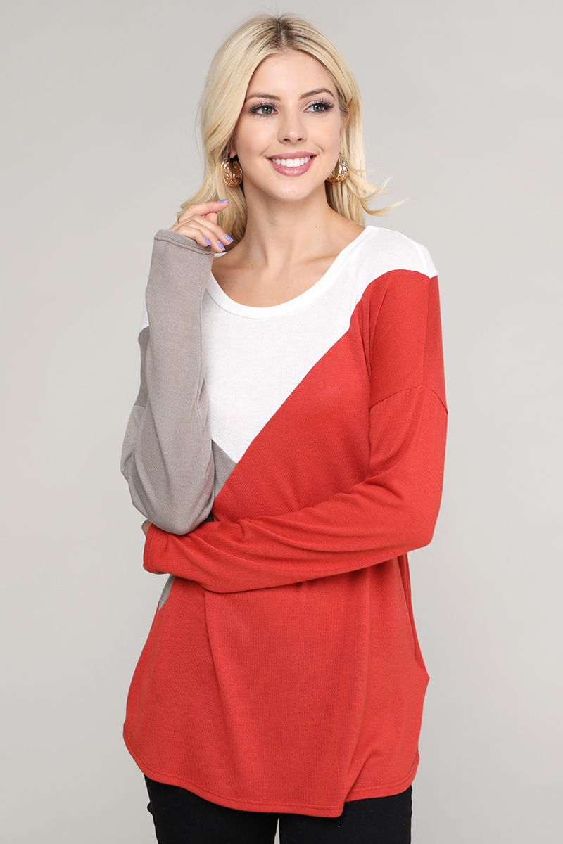 Color Block  Long Sleeve Casual Top - orangeshine.com