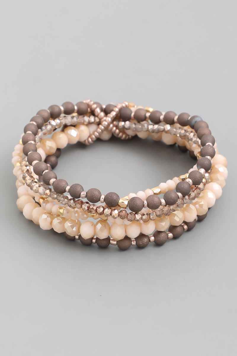 Assorted Bead Elastic Bracelet - orangeshine.com