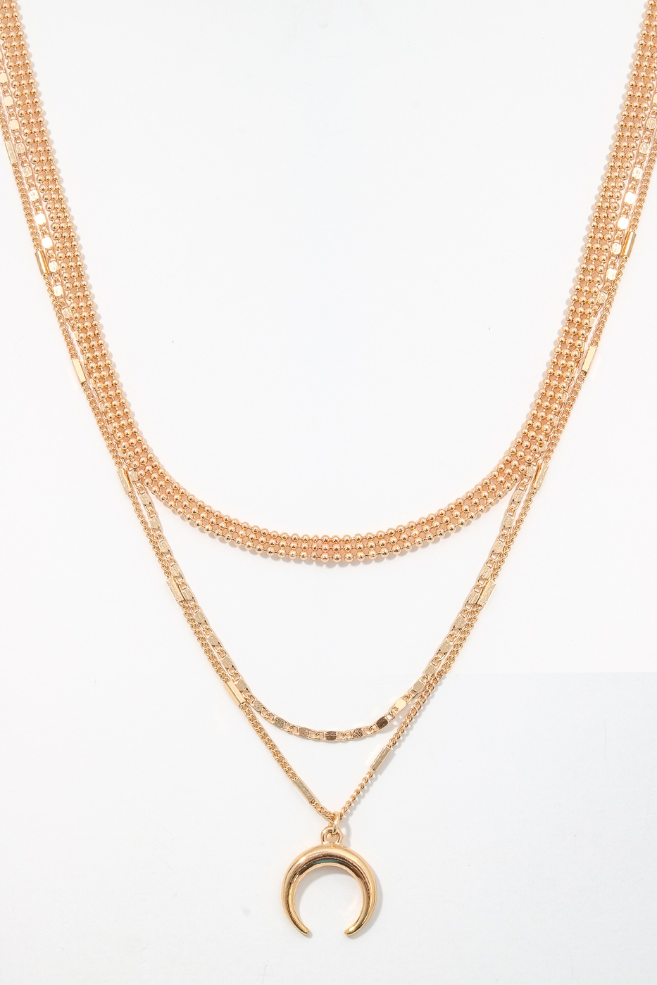 Metallic Crescent Layered Necklace - orangeshine.com