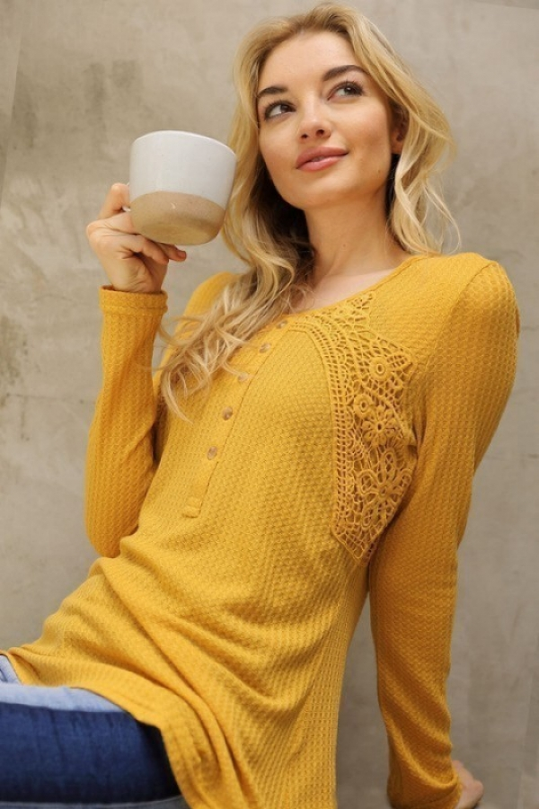 CROCHET DETAILED RIBBED HENLEY TOP - orangeshine.com