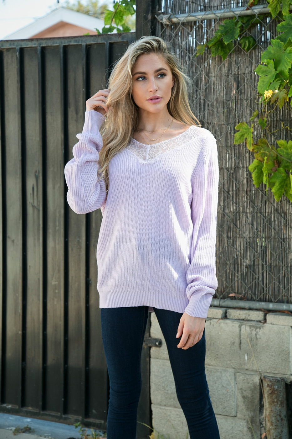 V-Neck Eyelash Lace Trim Sweater - orangeshine.com
