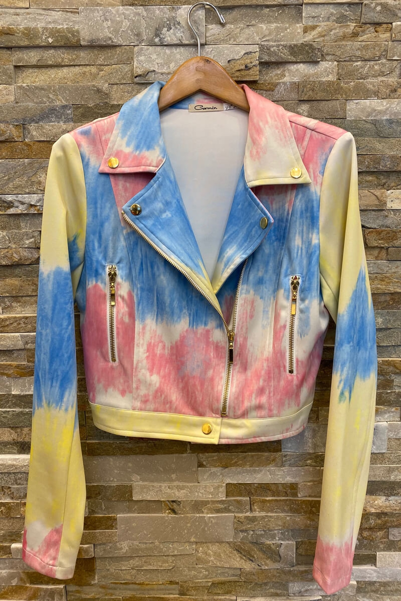 Yellow Tie DYE Moto Biker Jacket - orangeshine.com