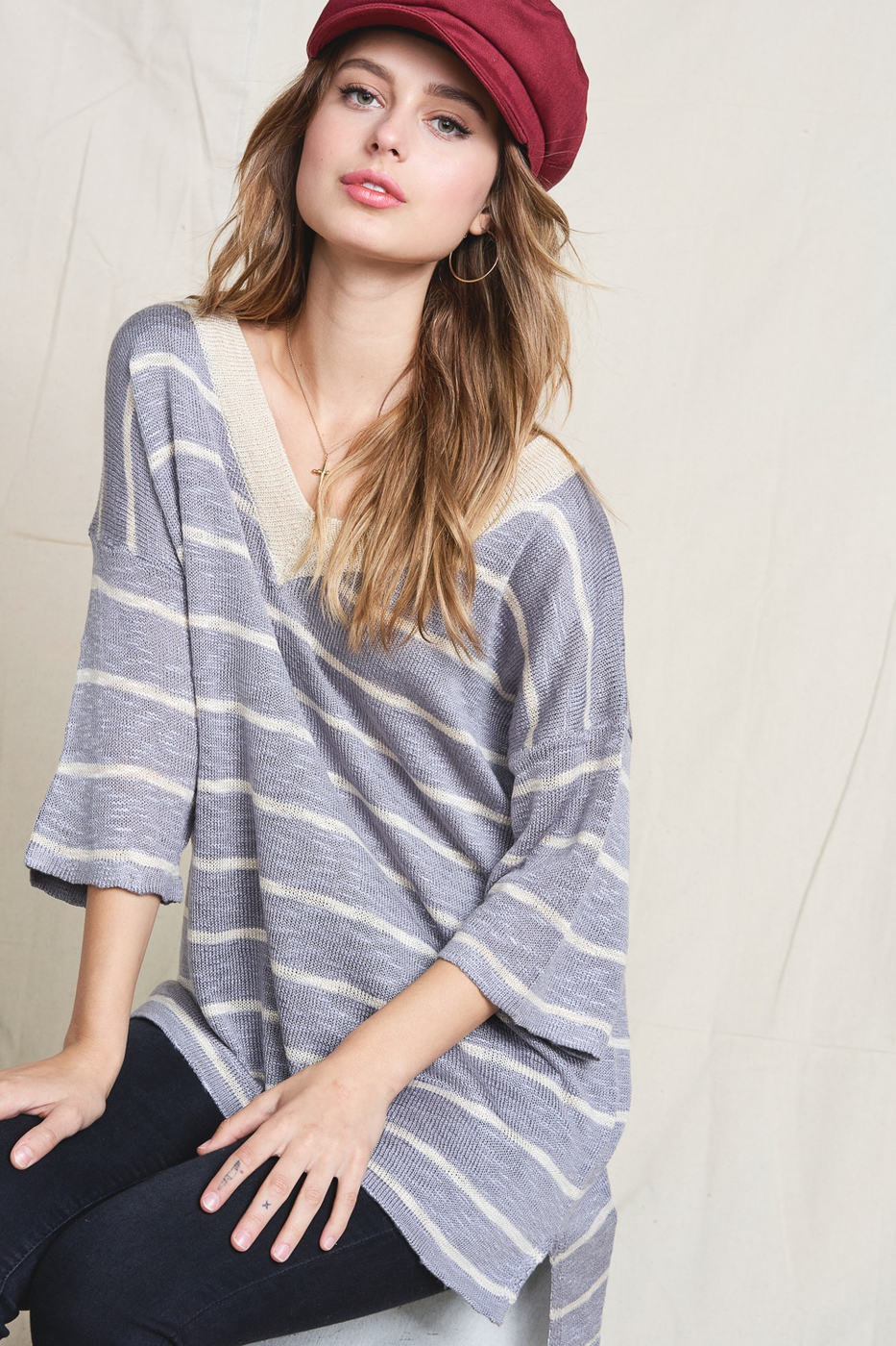 SOFT TEXTURED THREAD STRIPE SWEATER  - orangeshine.com