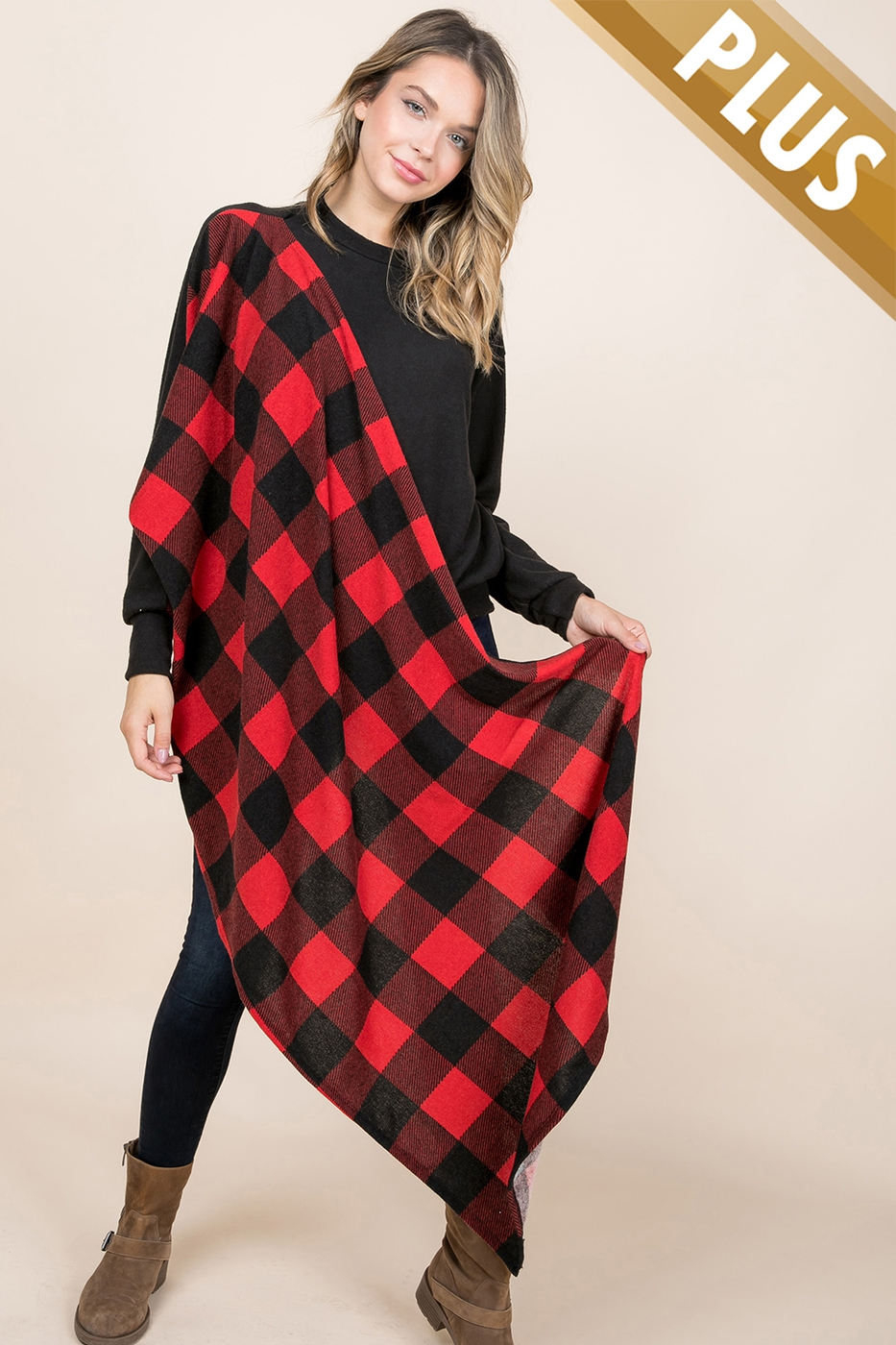 PLUS SIZE TOP WITH ATTACH PLAIDSHAW - orangeshine.com