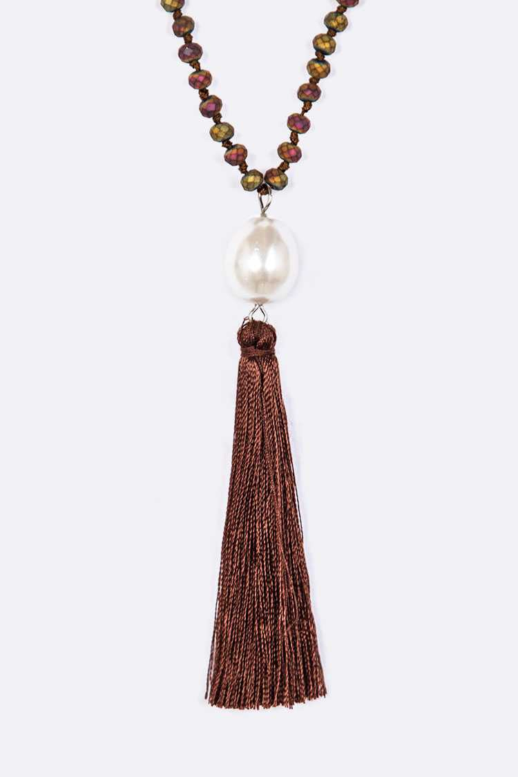 Hand Knotted Pearl Tassel Long Neckl - orangeshine.com