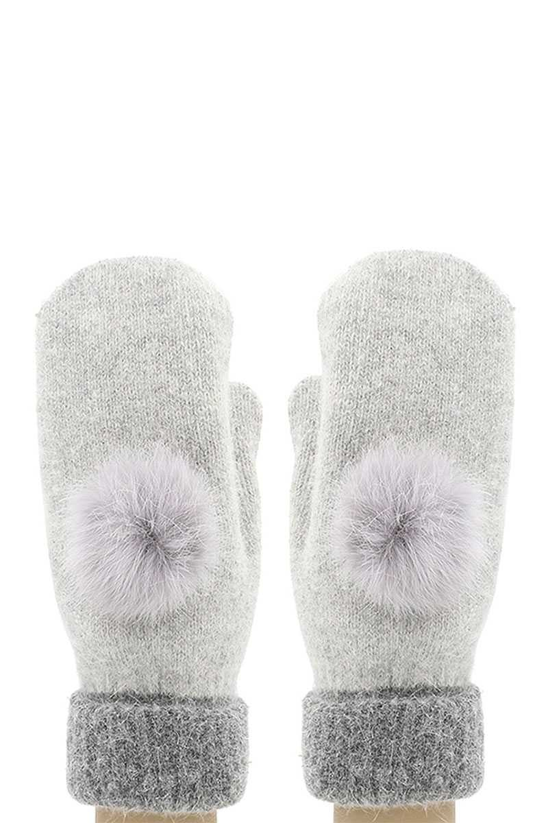 FAUX FUR POM POM MITTEN GLOVE WITH L - orangeshine.com