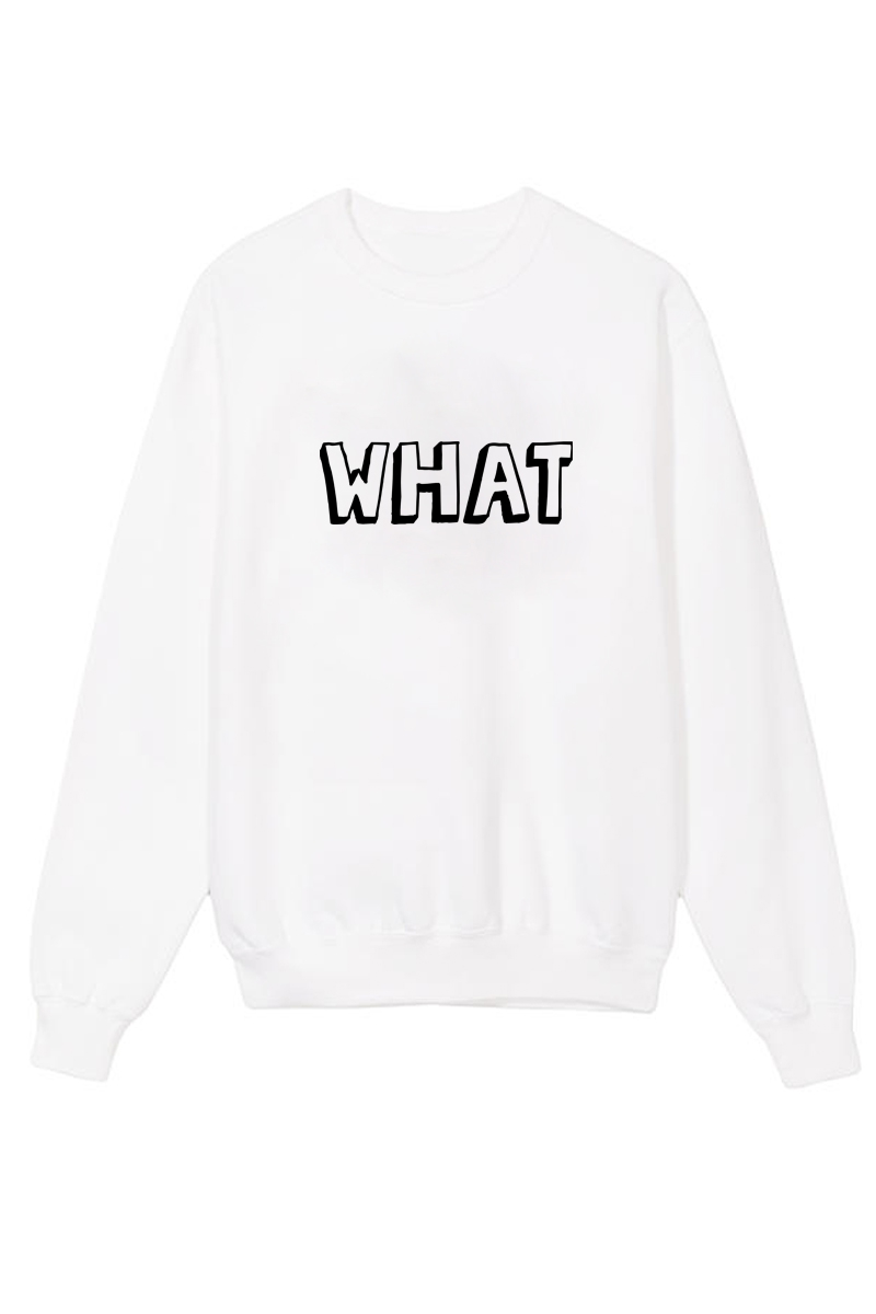 What Printed Crew Neck Sweater - orangeshine.com