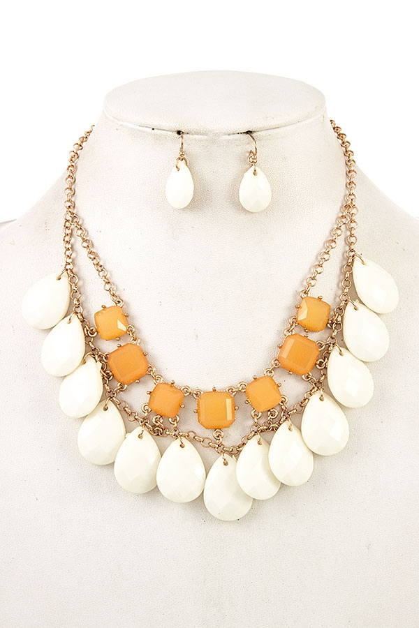 CLUSTER TEARDROP BIB NECKLACE SET  A - orangeshine.com