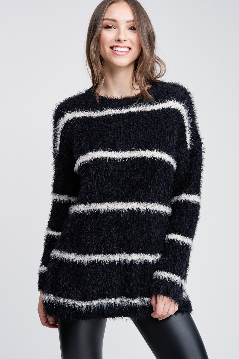 Long Sleeve Striped Knit Sweater - orangeshine.com