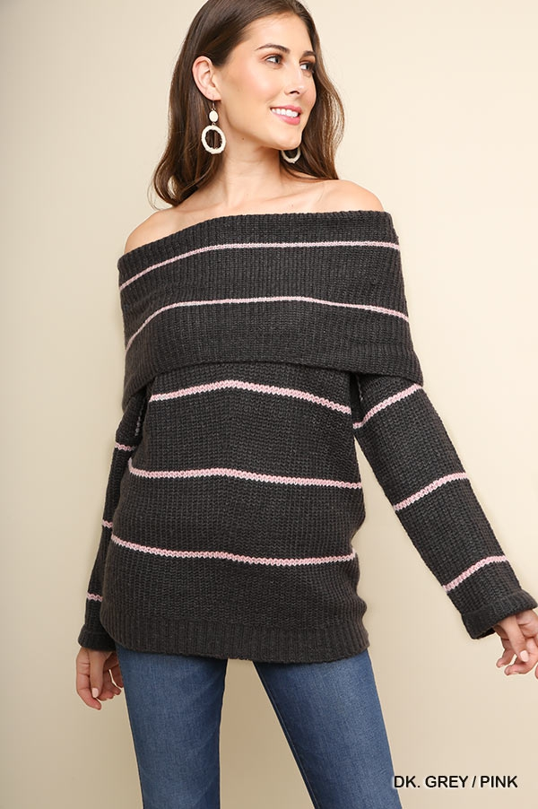 Fold-Over Off Shoulder Sweater - orangeshine.com