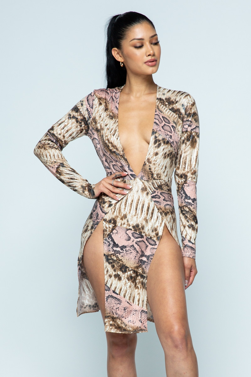 Snake skin printed  mini dress - orangeshine.com