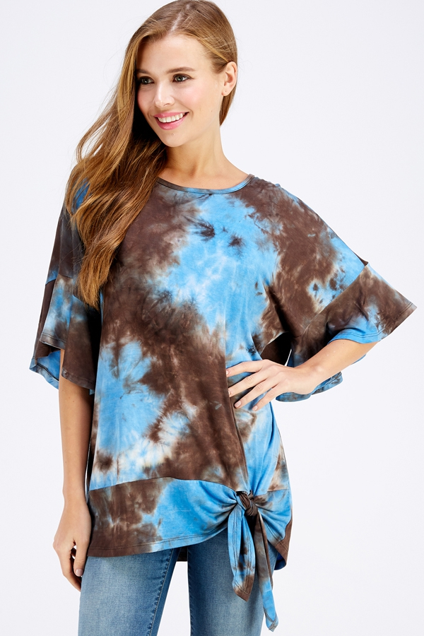 TIE DYE RUFFLE SLEEVE TIE BOTTOM TOP - orangeshine.com