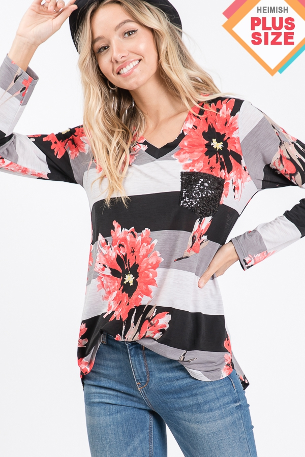 PLUS STRIPE AND FLORAL TOP WITH POCK - orangeshine.com
