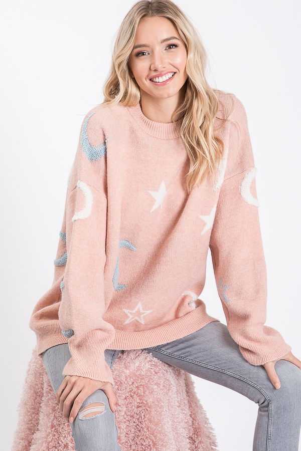 STAR PRINT LONG SLEEVES KNIT TOP - orangeshine.com