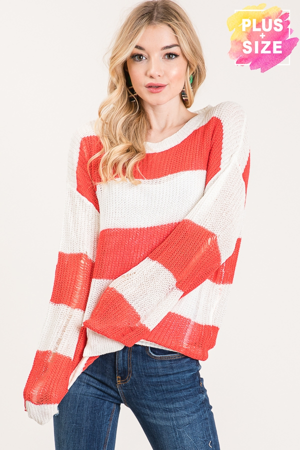 STRIPE LONG SLEEVES SWEATER PLUS SIZ - orangeshine.com
