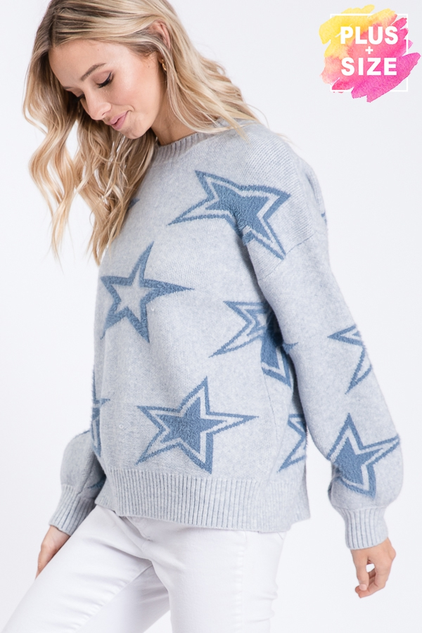 STAR PRINT LONG SLEEVES SWEATER PLUS - orangeshine.com