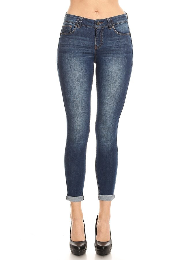 Basic Mid Rise Push Up Skinny Jeans - orangeshine.com