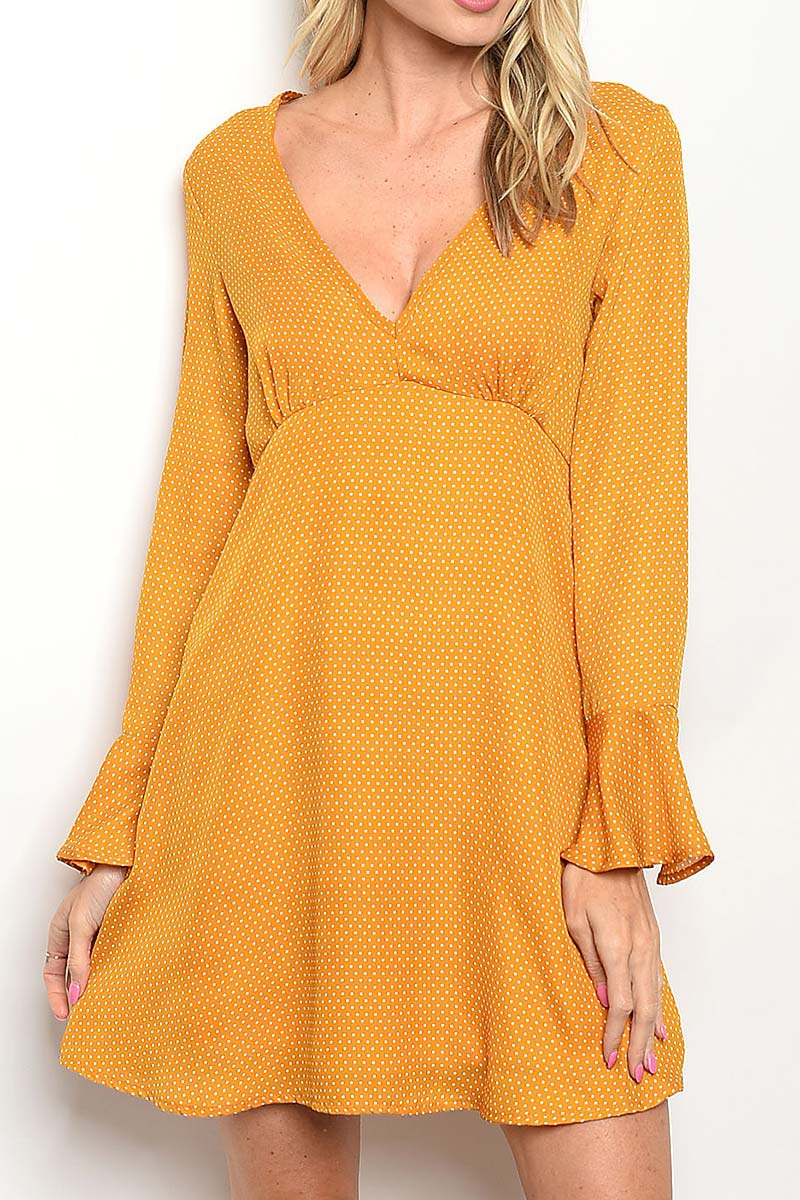 POLKA DOT PRINT FLARE DRESS - orangeshine.com