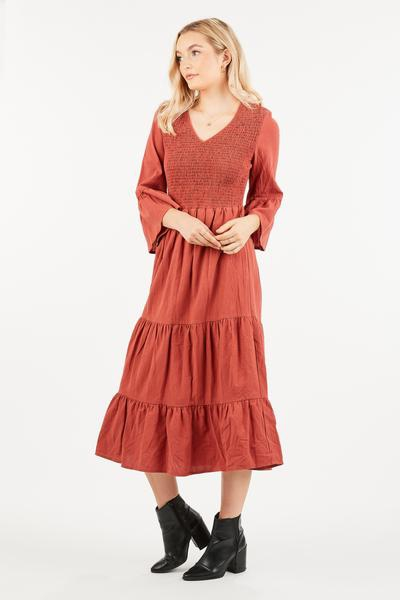 THREE QUARTER SLEEVE MIDI DRESS - orangeshine.com