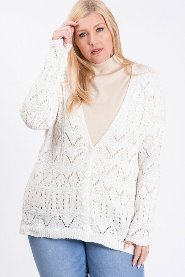 KNIT OPEN FRONT BUTTON DOWN CARDIGAN - orangeshine.com