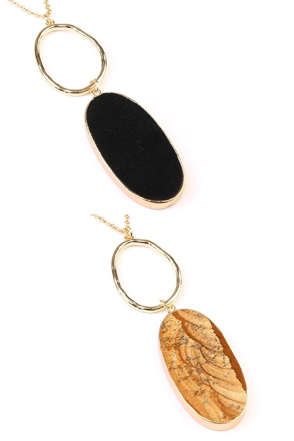 OVAL STONE PENDANT NECKLACE - orangeshine.com