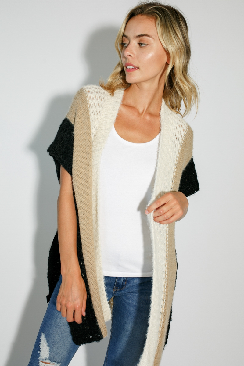 MIXED COLOR SOFT SHAWL VEST CARDIGAN - orangeshine.com