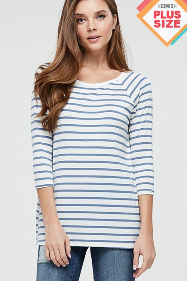 PLUS ROUND NECK STRIPE TOP - orangeshine.com