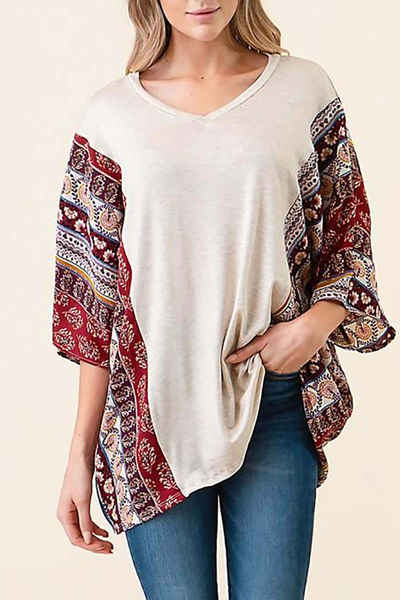 CONTRAST V NECK KNIT TUNIC - orangeshine.com