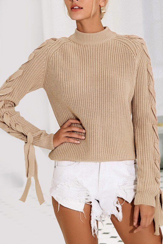MOCK NECK LACEUP SLEEVE KNIT SWEATER - orangeshine.com