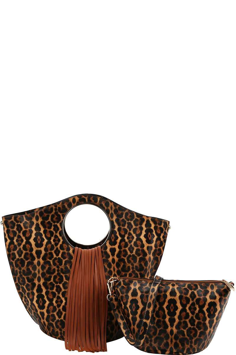 LEOPARD PRINT AND TASSEL SATCHEL - orangeshine.com
