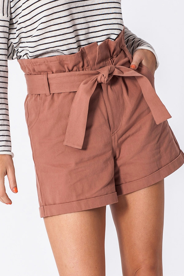 PAPER BAG WAIST SHORTS WITH POCKETS - orangeshine.com