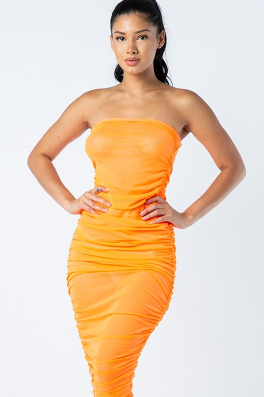 All over ruched tank mesh dress - orangeshine.com