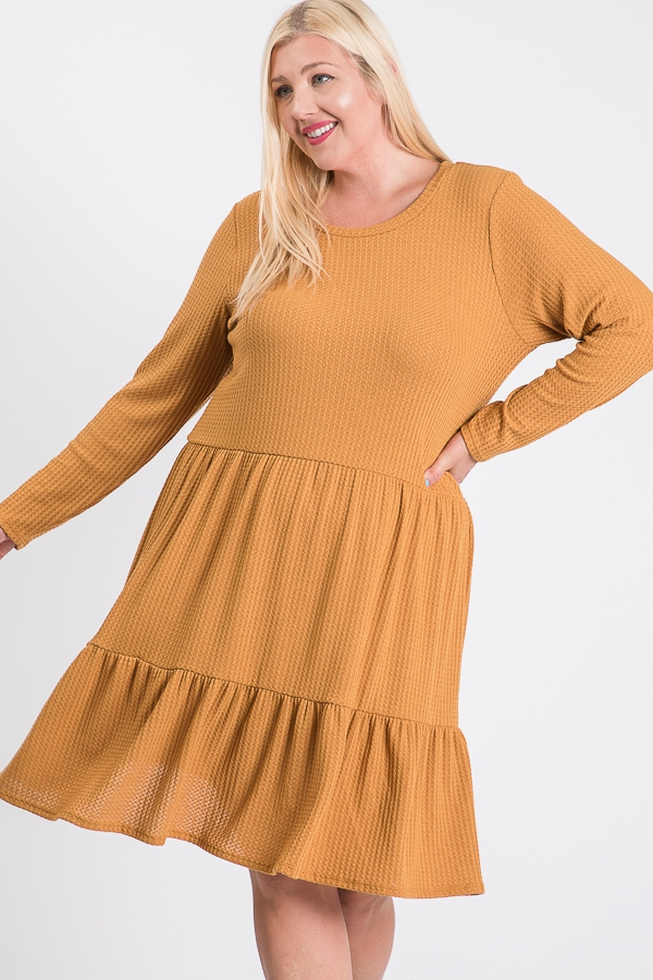 LONG SLEEVE RUFFLED DRESS - orangeshine.com