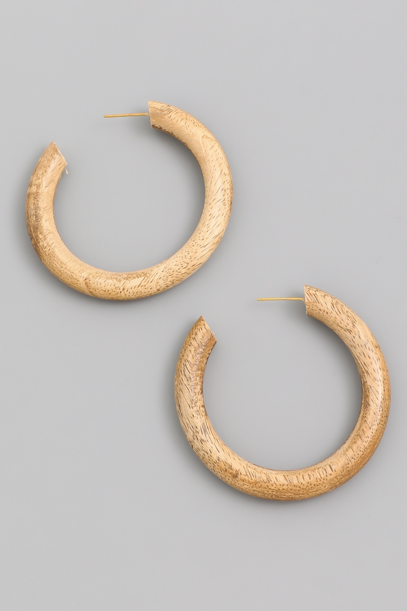 Wooden Hoop Earrings - orangeshine.com