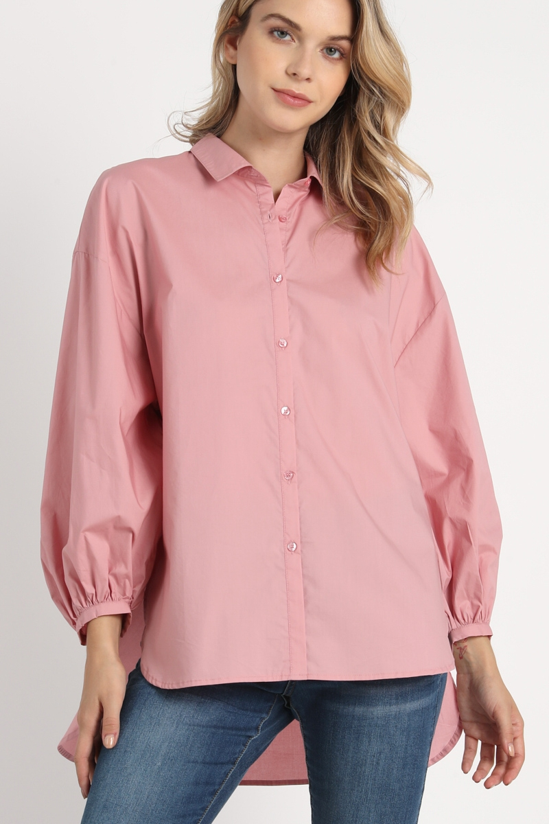 BUTTON DOWN PUFF SLEEVES HIGH LOW BL - orangeshine.com