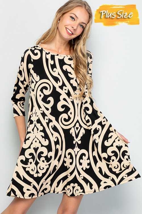 Large damask print swing dress - orangeshine.com