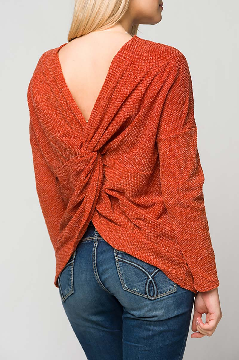 TWIST BACK KNIT TOP SWEATER - orangeshine.com