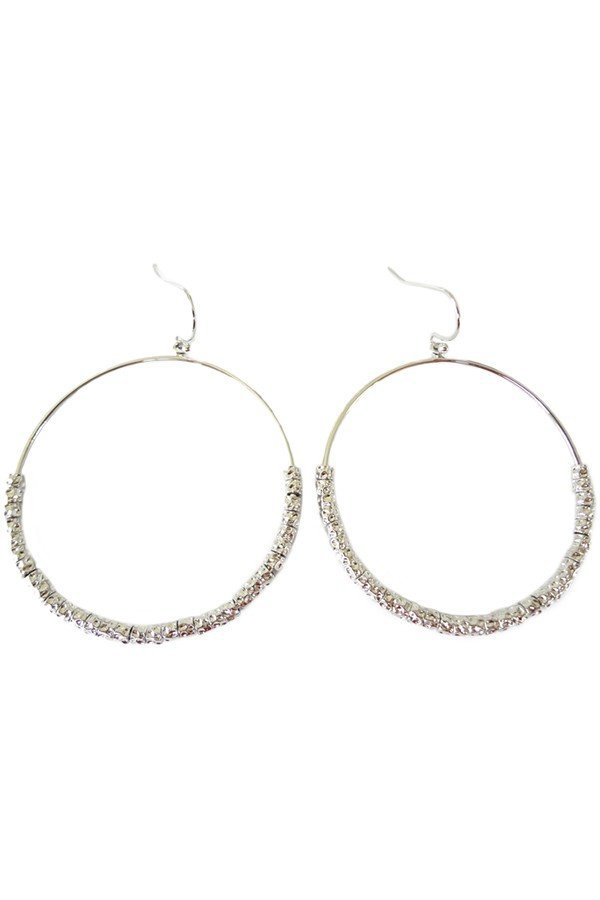 Dropped hoop earrings with hammered  - orangeshine.com