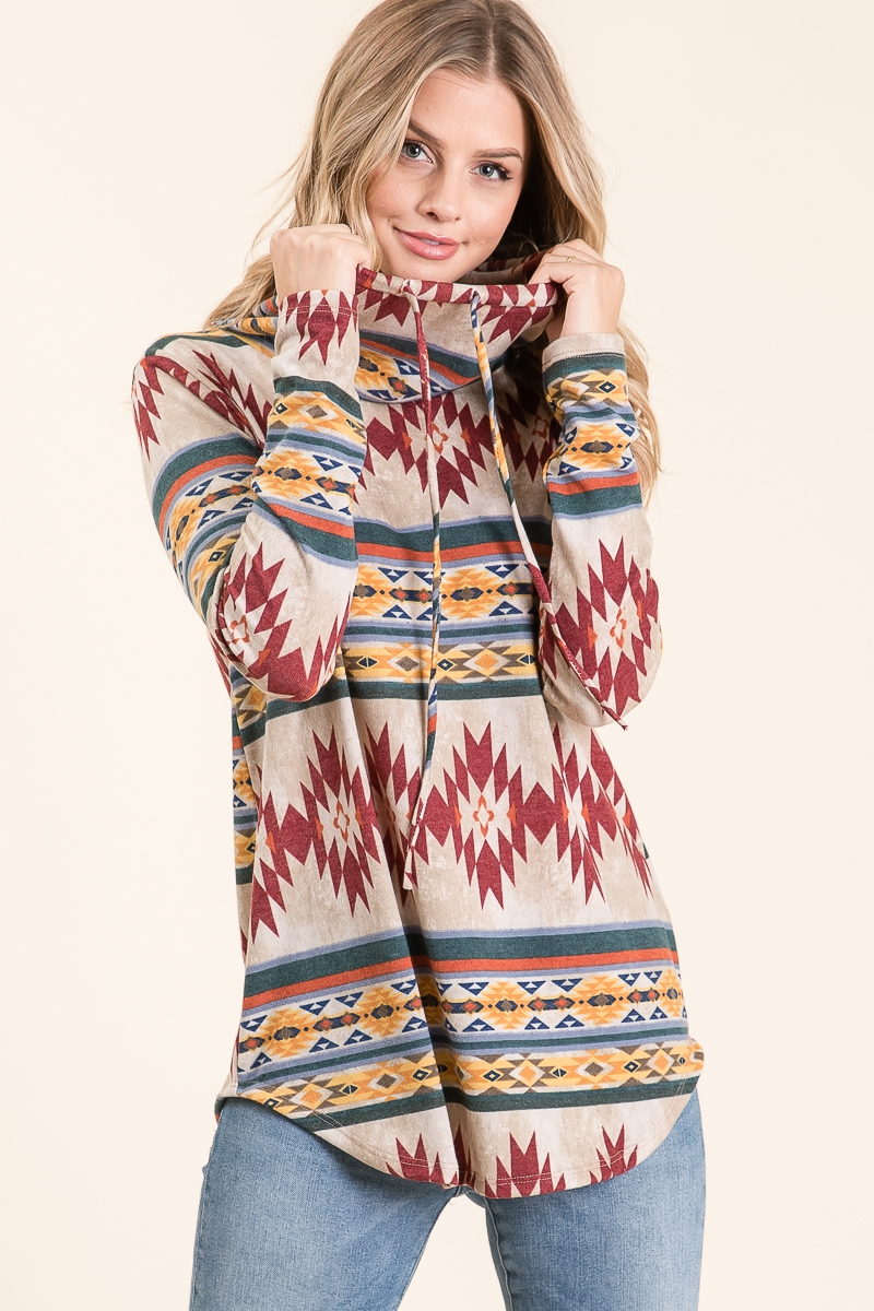 AZTEC TRIBAL PRINT COWL NECK TOP - orangeshine.com