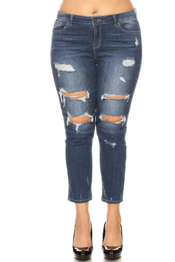 Plus High Rise Straight Leg Jeans - orangeshine.com