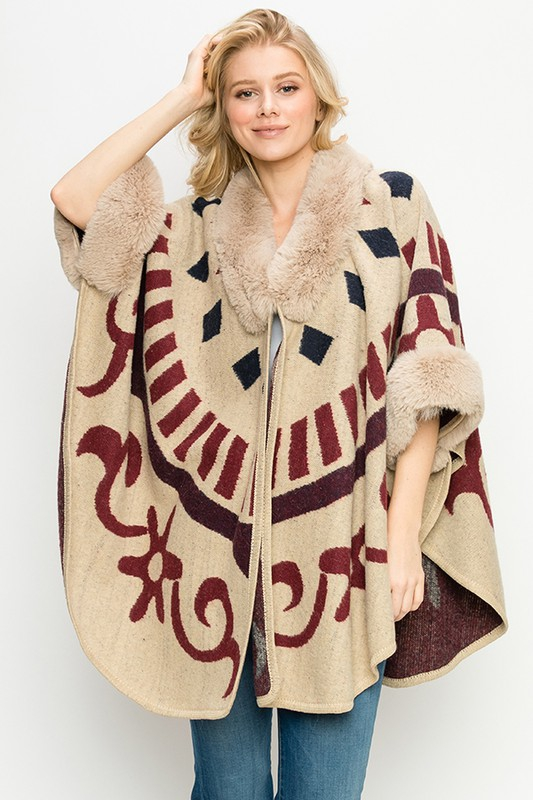 FAUX FUR TRIM TRIBAL PRINT PONCHO - orangeshine.com