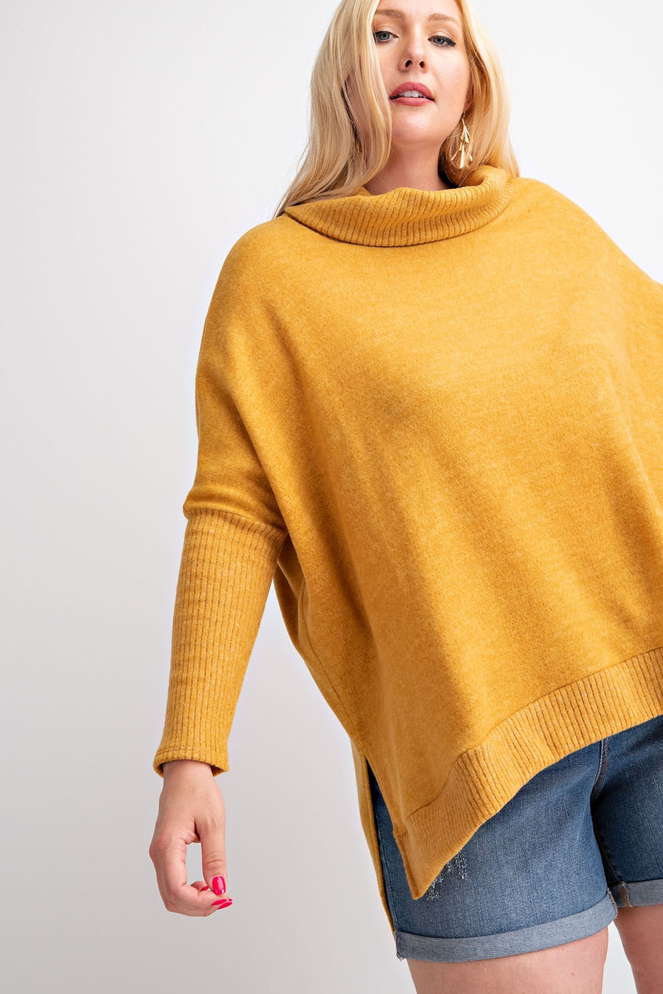 PLUS SIZE TURTLE NECK SLOUCHY SHOULD - orangeshine.com