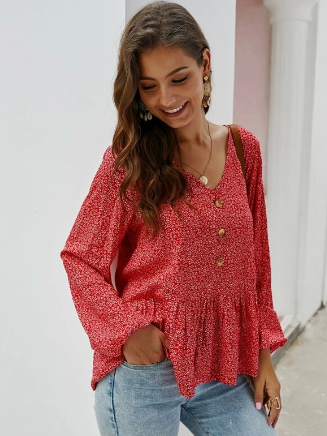 Button Up Ditsy Floral Peplum Blouse - orangeshine.com