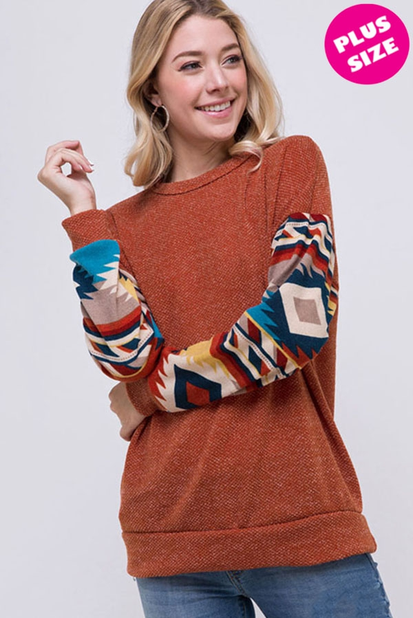 Tribal Accent Band Bottom Solid Top - orangeshine.com