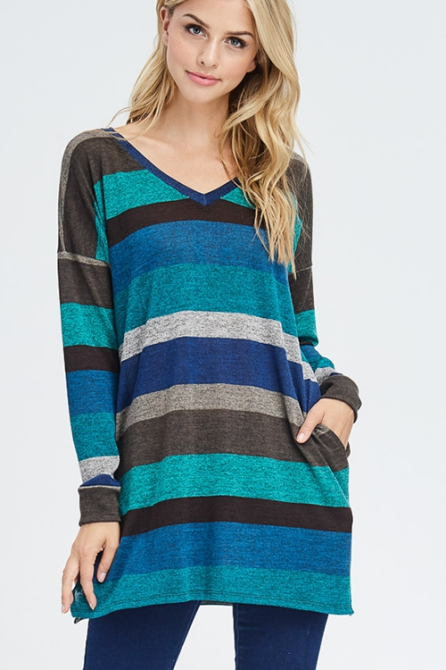 MULTI COLOR BLOCK TUNIC TOP - orangeshine.com