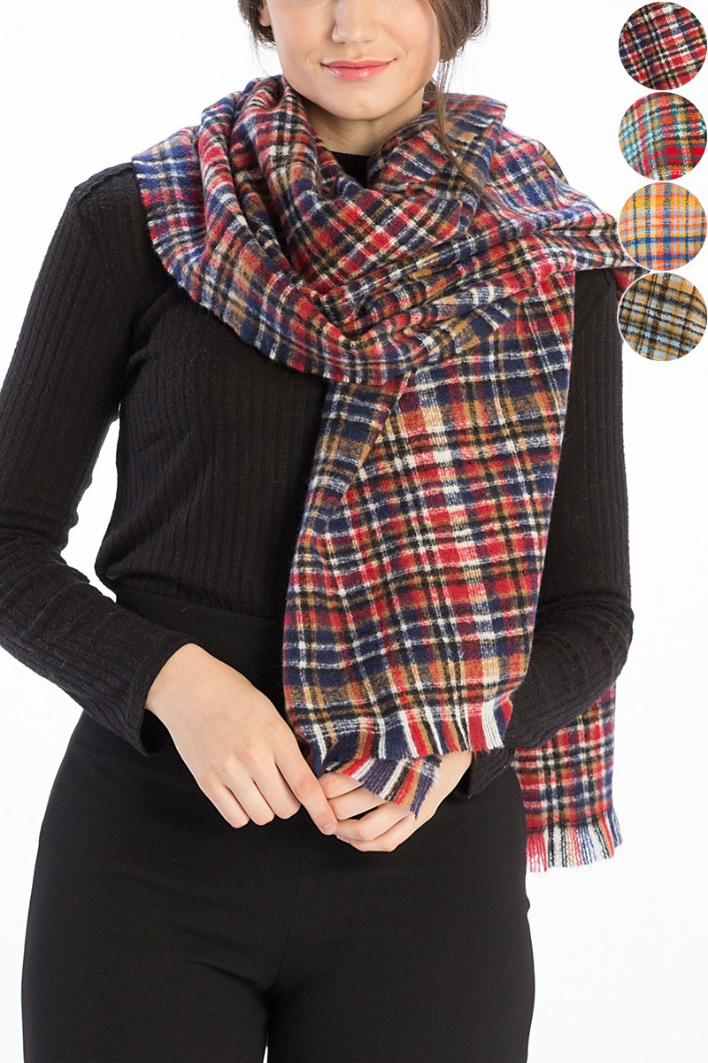 CHECKER PLAID PRINT SCARF - orangeshine.com