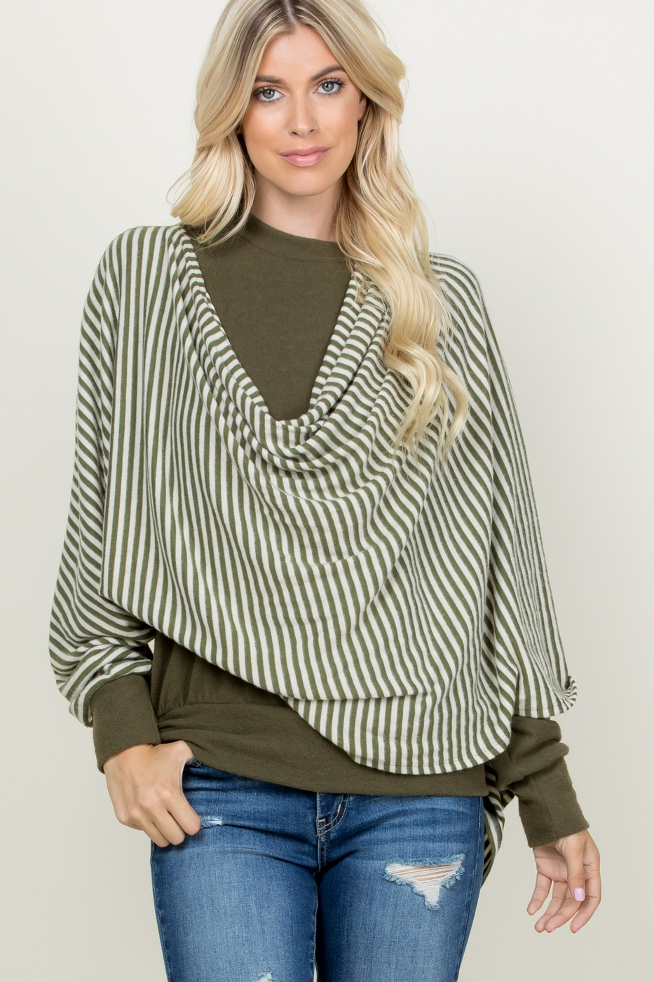 SOLID TOP WITH ATTACHED STRIPE SHAWL - orangeshine.com
